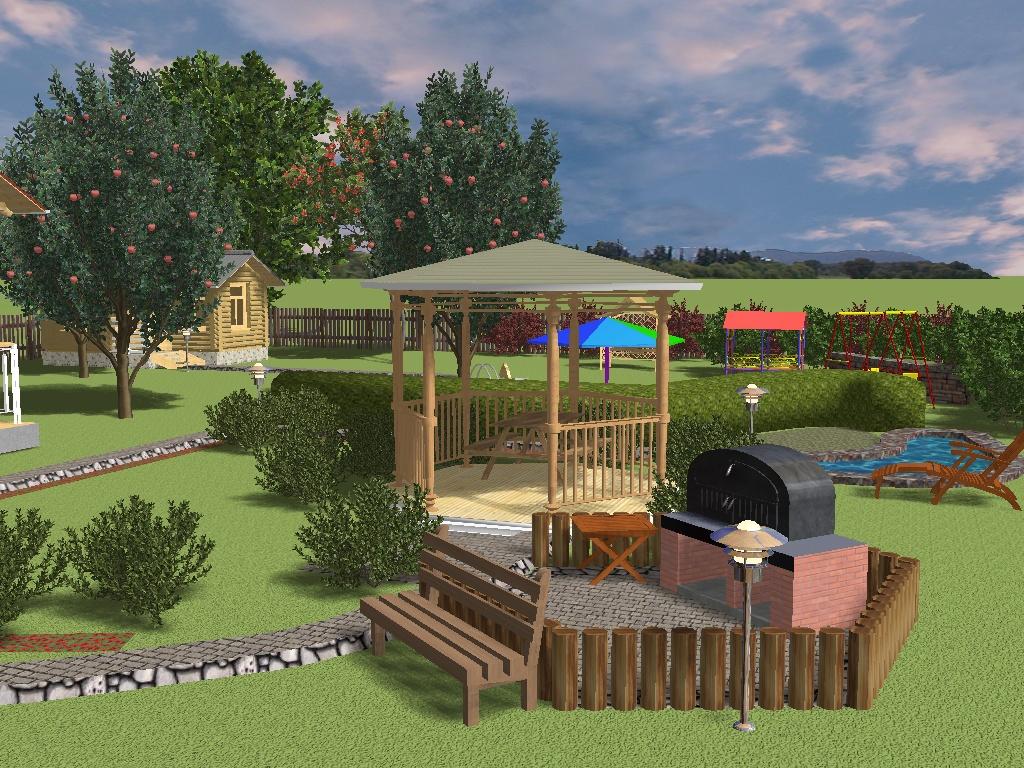 Ландшафтный дизайн участка, выполненный в программе Наш сад