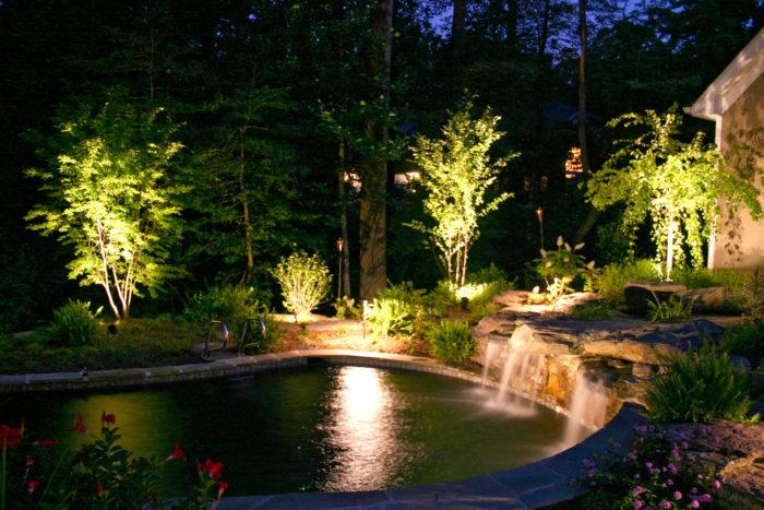 Вечернее освещение в саду